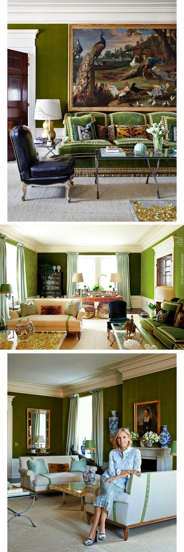living-gazette-barbara-resende-decor-tour-tory-burch-apartment-ny-green-living-room