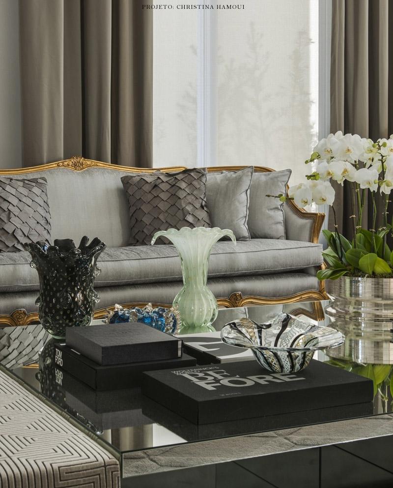Eleg Ncia Contempor Nea Em Sala Por Christina Hamoui Living Gazette -> Sala Cinza Com Sofa Marrom